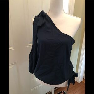 Wet seal one shoulder top medium navy blue
